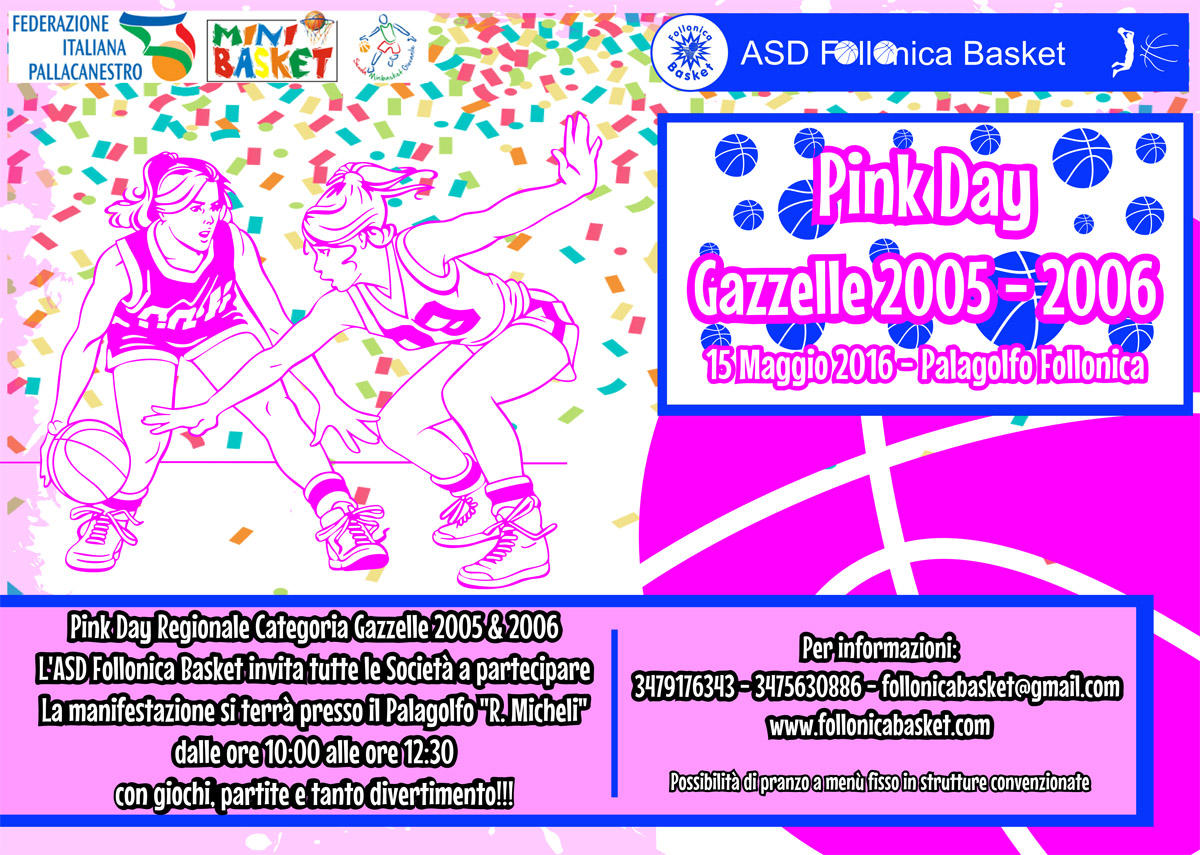 Pink Day Gazzelle 2005/2006 - Palagolfo 15/5/2016 dalle ore 10.00 alle 12.30